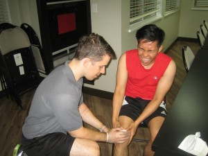 Using gauze on a bleeding injury